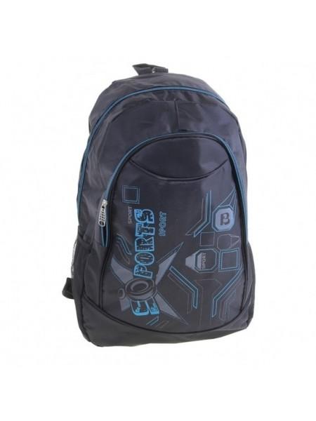 Рюкзак молодёжный Sports 1 отдел, 1 наружный и 2 боковых кармана, чёрный