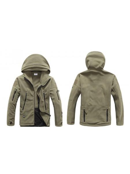 Куртка флисовая тактическая зеленая с капюшоном S