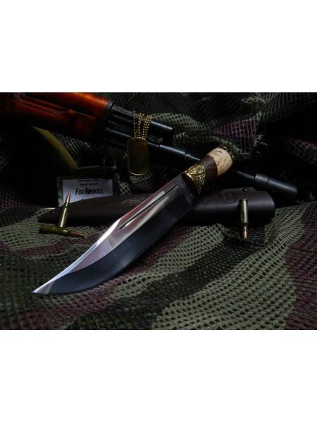 Нож нескладной кованый с долом венге карельская берёза упор худ. литьё латунь / Ножемир Россия