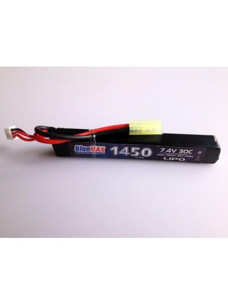 АКБ BlueMAX 1450mAh Lipo 7.4V 30C stick 15x16.5x115mm AUG, G36, М-серия цевье, MP40, АК под крышку