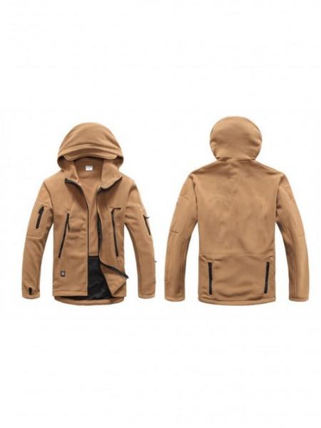 Куртка флисовая тактическая коричневая с капюшоном L