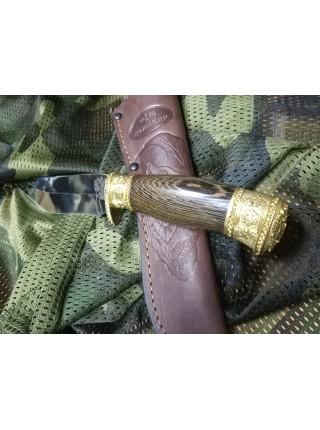 Нож нескладной кованный Орлан венге упор худ. литьё латунь тыльник