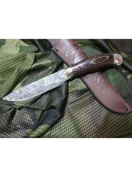 Нож нескладной инструментальная сталь венге, оковка и тыльник зеркальное литьё латунь / Ножемир Росс