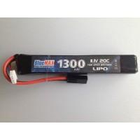 АКБ BlueMAX 11.1V Lipo 1300mAh 20C stick 20x21x128mm приклад весло , М-серия в щеки