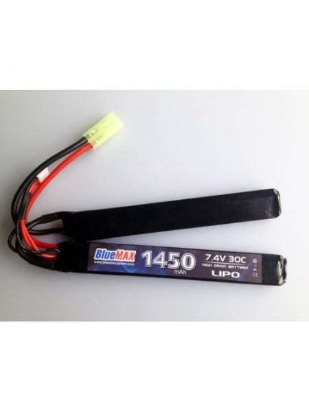 АКБ BlueMAX 7.4V Lipo 1450mAh 30C nunchuck 2x (7.5x17x115) AUG, G36, М-серия цевье, MP40, АК под кр