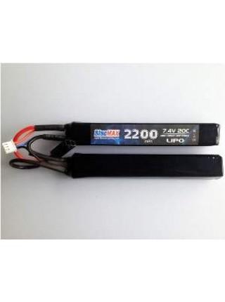 АКБ BlueMAX 7.4V Lipo 2200mAh 20C nunchuck 2x (12x20x102) М-серия цевье, приклад