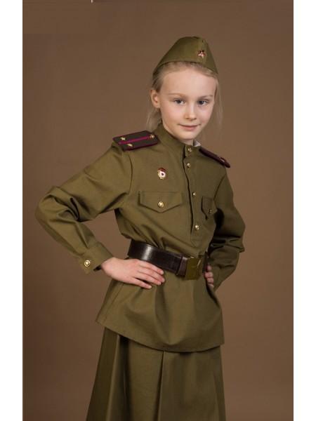 Костюм пехотинца для девочки, гимнастерка, юбочка, пилотка, ремень, рост 98 см (Сын полка)
